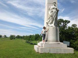 Dennette D. Mc Cermott at the Michigan monument, Vicksburg National Military Park, Mississippi.